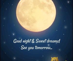 full moon, stars, and good night image