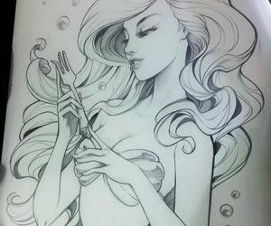ariel, mermaid, and drawing image
