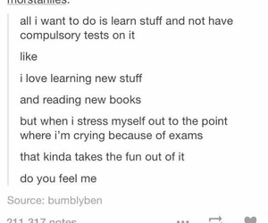books, cry, and exam image