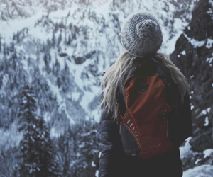 winter, girl, and mountain image