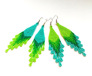 etsy, long earrings, and beaded jewelry image