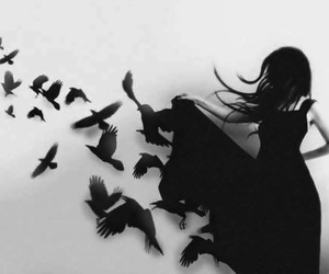 girl, bird, and black image