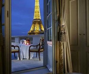hotel, shangri la, and eiffel tower image