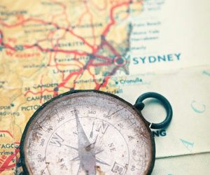 map, travel, and compass image