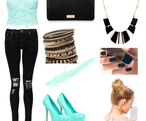 outfit, Polyvore, and aquamarine image