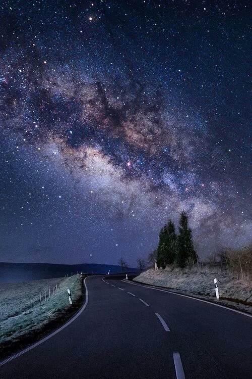night stars road univers uploaded by beatriceweis we heart it