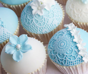 cupcake, blue, and wedding image