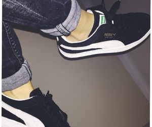 black, puma, and suede image
