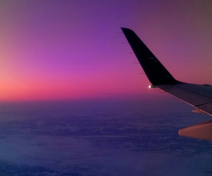 plane, sky, and sunset image