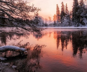 lake, sunset, and trees image