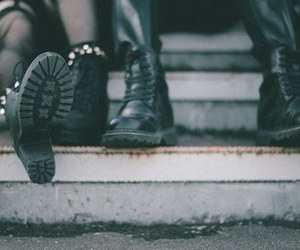 black, boots, and couple image