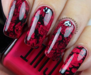 red, black, and nails image