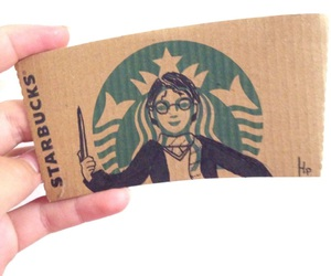 drawing, harry potter, and starbucks image