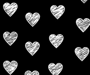 black, hearts, and blackground image