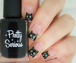 nails, black, and cat image