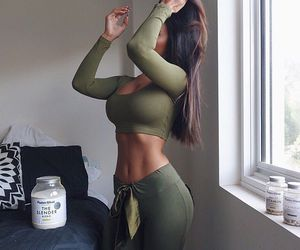 nice, crop top, and sweatpants image