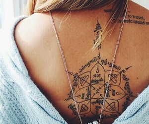 tattoo, girl, and back image