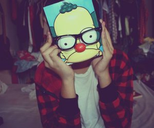 boy, glasses, and Krusty image