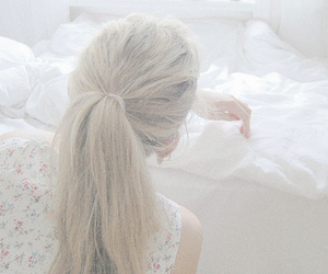girl, blonde, and white image