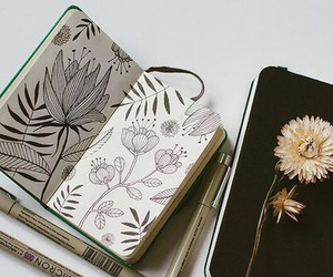 flowers, draw, and notebook image