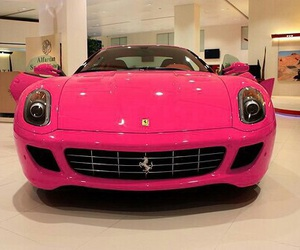 cars, ferrari, and pink image
