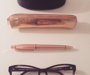 glasses, pen, and rosegold image
