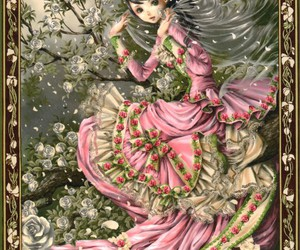 anime, roses, and girl image