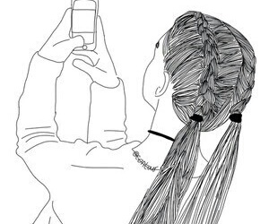 girl, outline, and selfie image