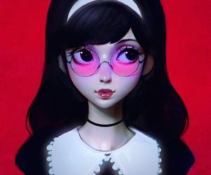 art, anime, and glasses image