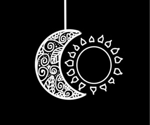 moon, sun, and black and white image