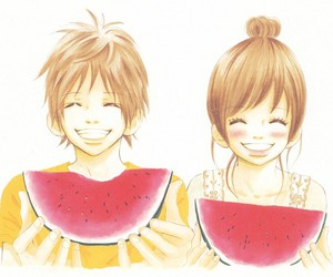 boy and girl, fruit, and smile image