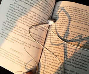 book, music, and earphones image