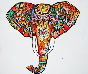 elephant, colorful, and drawing image