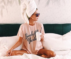 girl, bed, and relax image