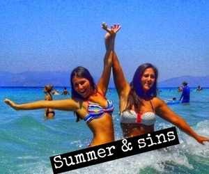 beach, best friends, and sea image