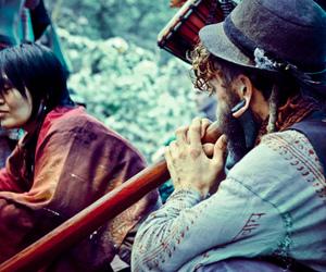 hippy, rainbow gathering, and didgeridoo image