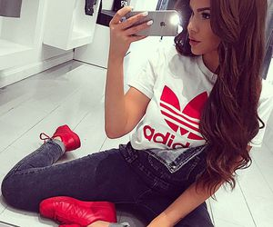 adidas, red, and outfit image