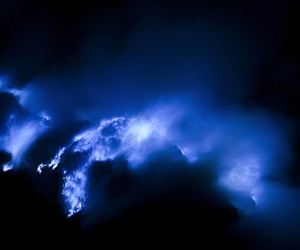 blue, volcano, and eruption image