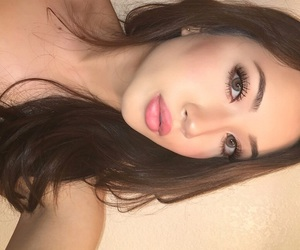brown hair, makeup, and eyebrows image