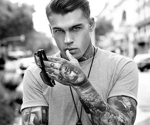 tattoo, black and white, and guy image