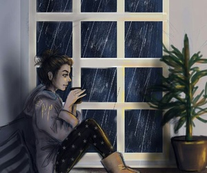 girly_m, drawing, and rain image