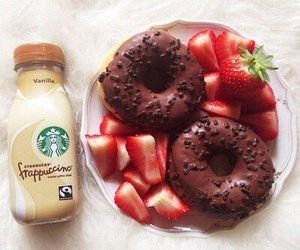 chocolate, donuts, and starbucks image