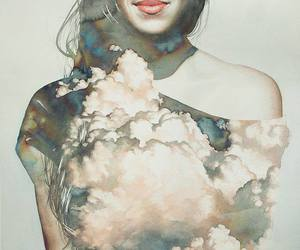 art, clouds, and girl image