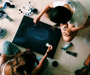 girl, art, and friends image