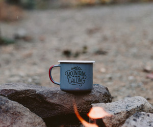 fire, mountains, and cup image