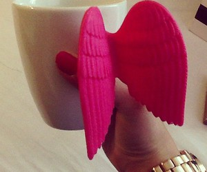 pink, cup, and wings image