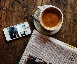 coffee, iphone, and newspaper image