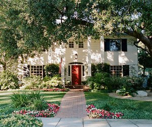 house, home, and flowers image