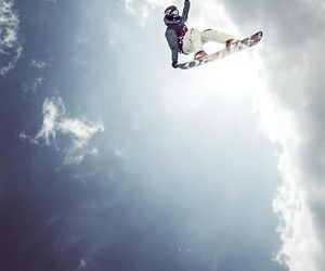 snowboard, sky, and winter image