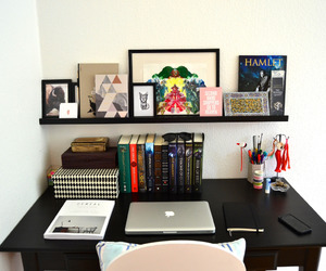 books, desk, and studying image